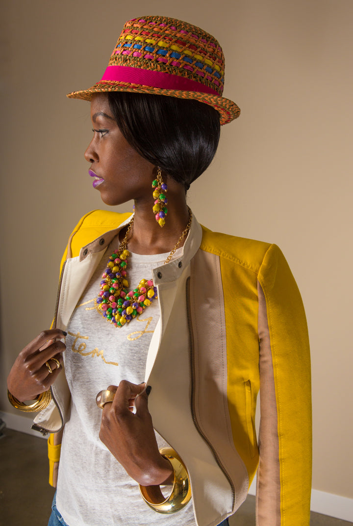 BCBG-Hat-Jacket-Rings-NYX-Berry-Strudel-Gloss-J.Crew-T-Shirt-Bracelets-Shoes-Nairobi-Multicolor-Necklace-and-Earrings-by-Dalasini