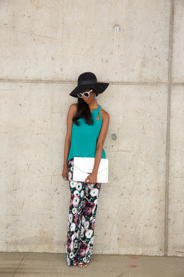 BCBG-Printed-Palazzo-Pants-Hat-White-Clutch-by-Dalasini