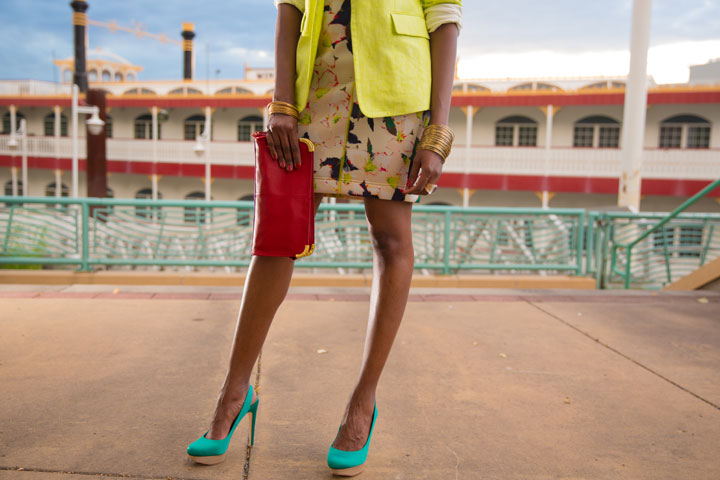 BCBG-Pumps-Clutch-J.Crew-Dress-Jacket-Banana-Republic-Bracelets