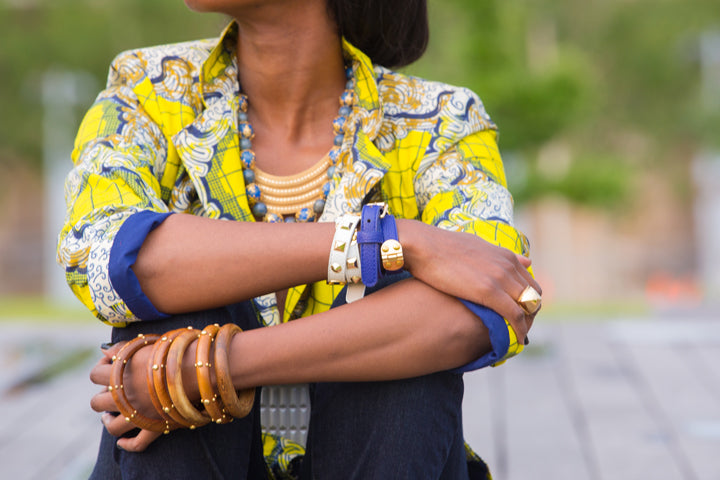 BCBG-Ring-Cuffs-Banana-Republic-Bracelets-Ankara-Print-Jacket-Kabul-Lapis-Lazuli-Necklace-by-Dalasini