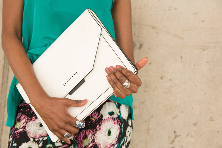 BCBG-White-Envelope-Clutch-Silver-Rings-by-Dalasini