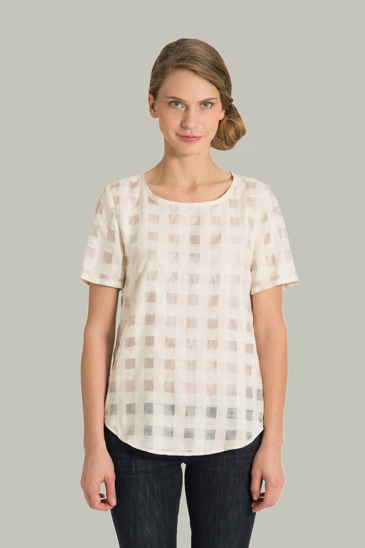 Carrie-Parry-Short-Sleeve-Ivory-Check