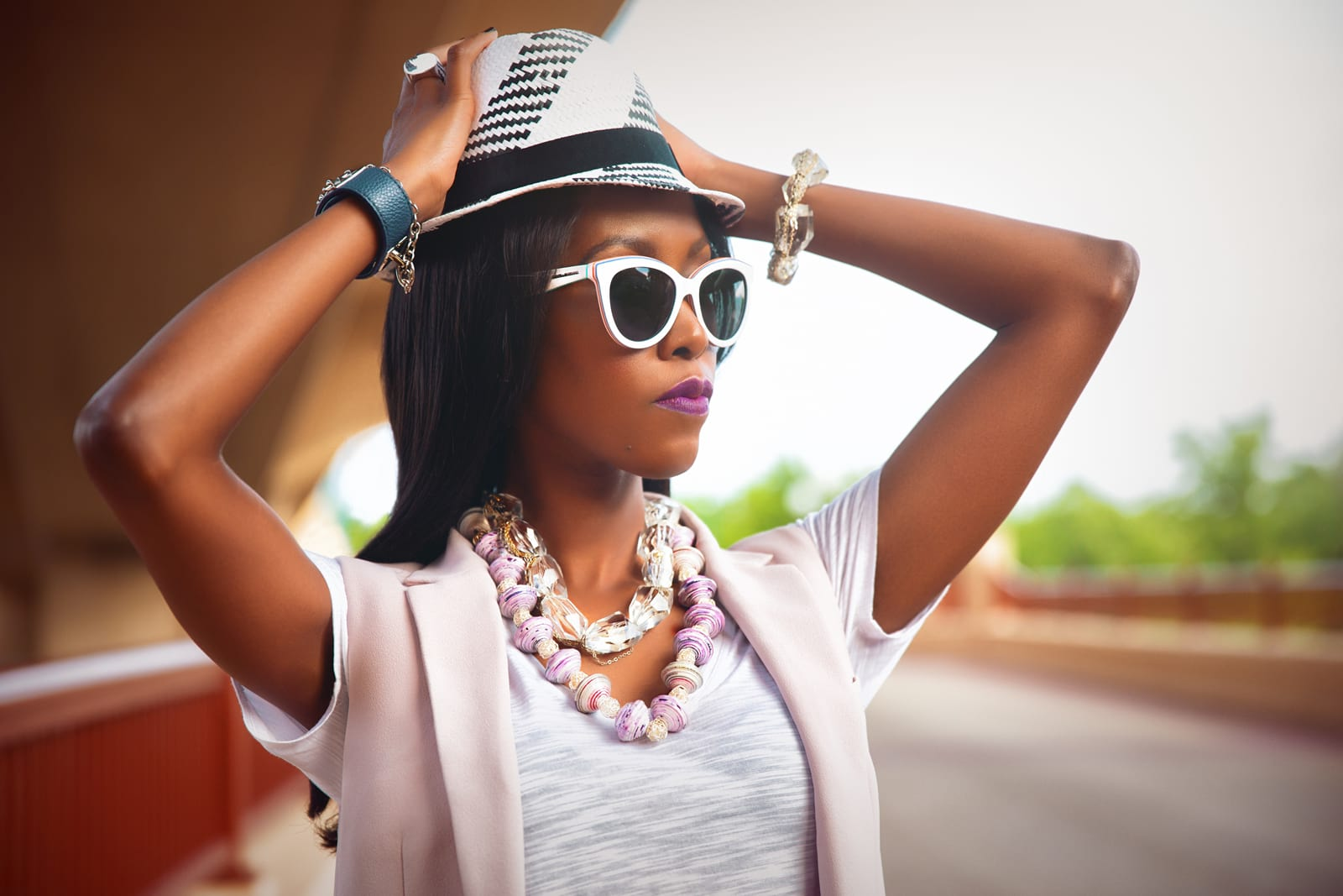 Model Wearing-Dalasini Mombasa Sterling Silver and Paper Bead Necklace
