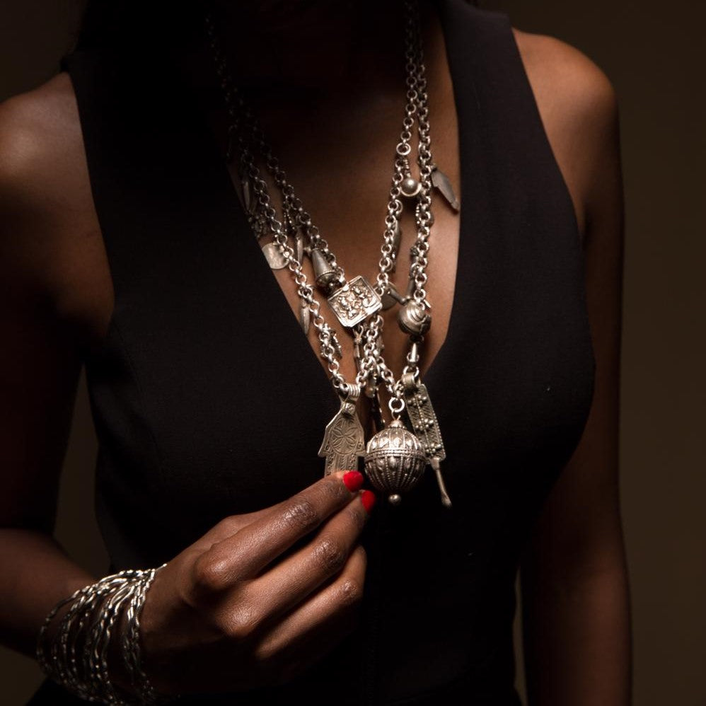 Model Wearing Dalasini Marrakech Antique Silver Necklaces