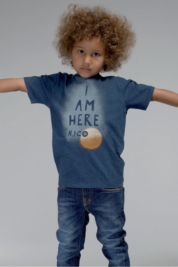 Nudie-Jeans-I-am-Here-Childrens-T-Shirt-Navy