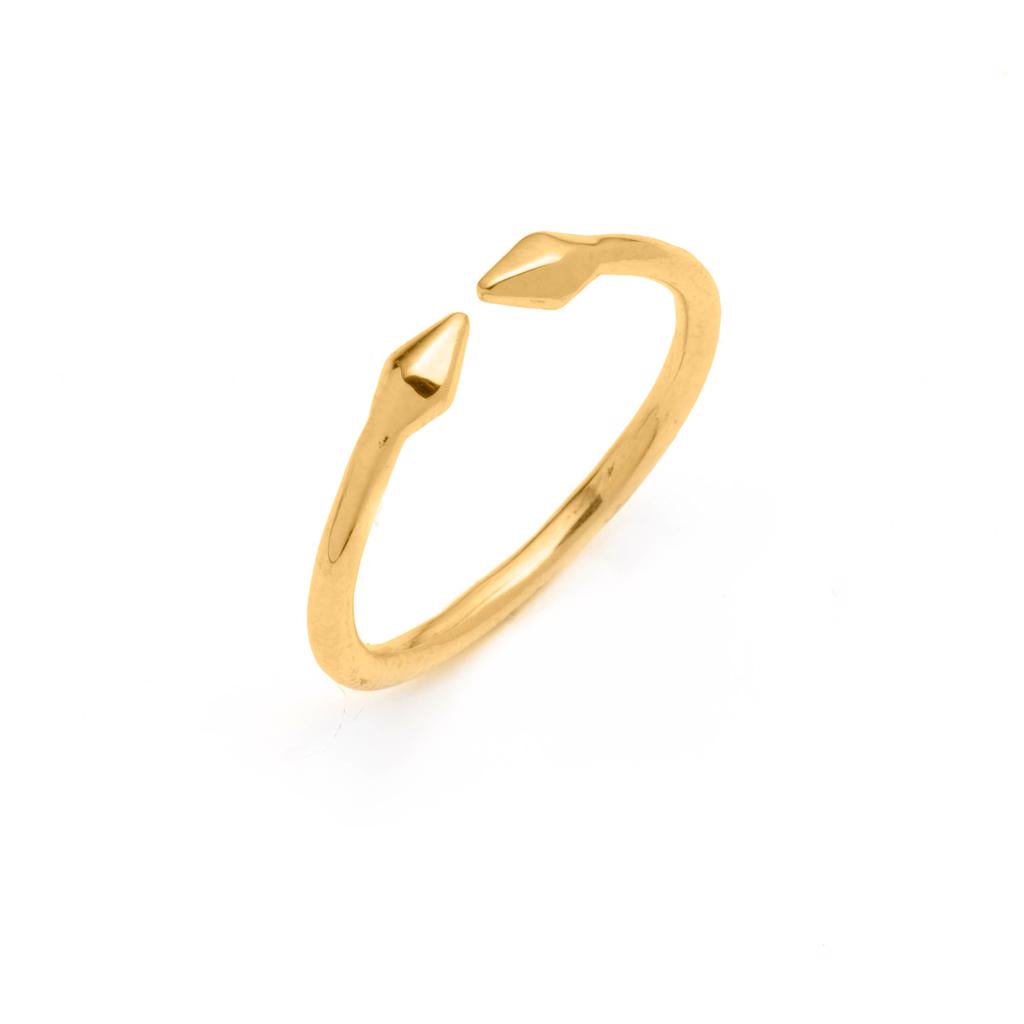 Dalasini Bulawayo Gold Double Tip Spear Ring Angle