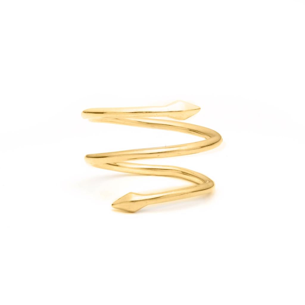 Dalasini Bulawayo Gold Double Tip Spiral Spear Ring Angle