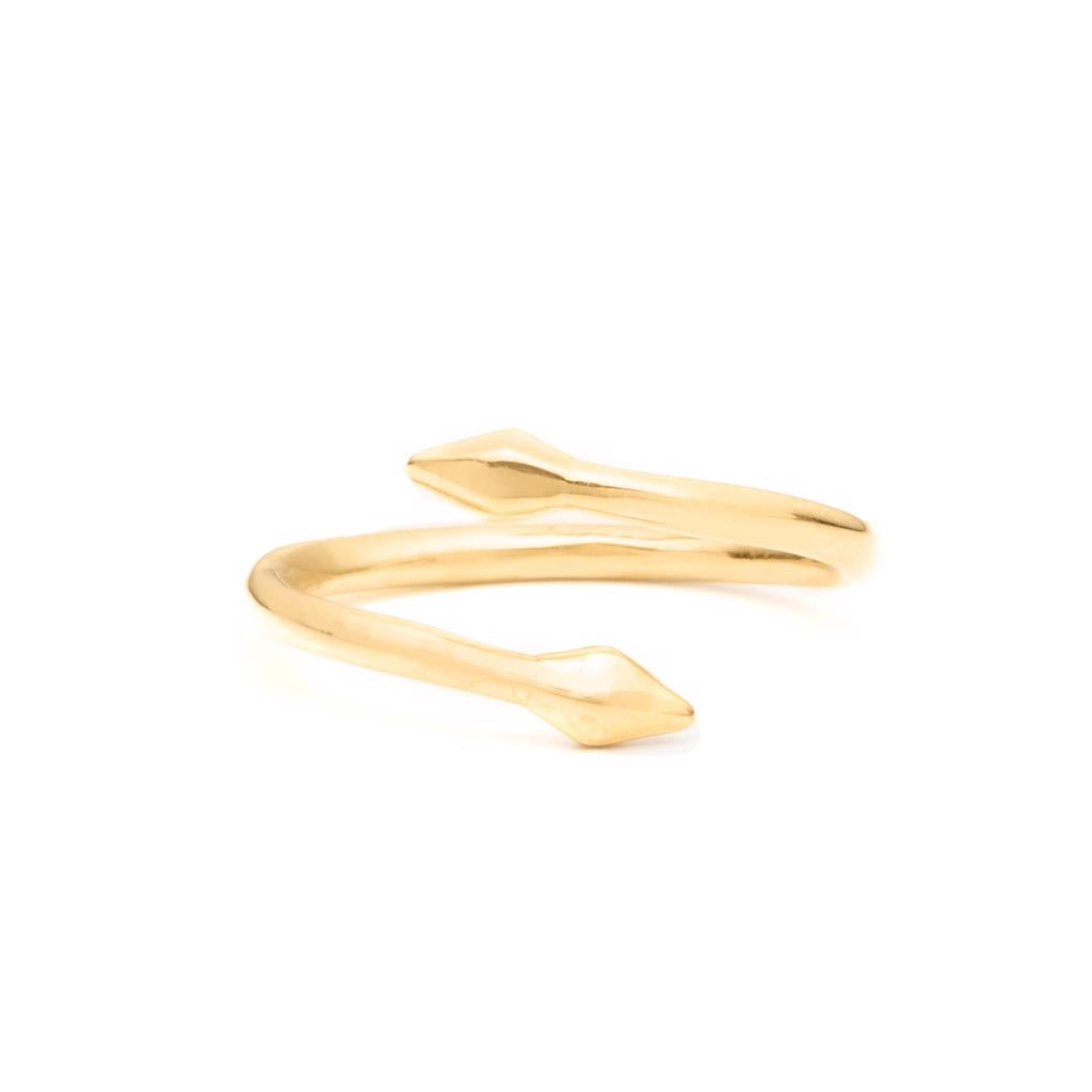 Dalasini Bulawayo Gold Double Tip Wrap Spear Ring Angle