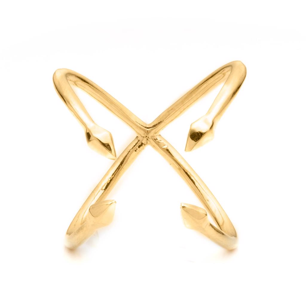 Dalasini Bulawayo Gold Quadruple Tip Spear Ring Angle