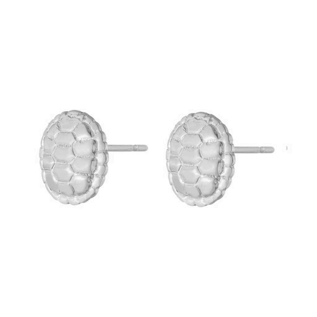 Dalasini Sahel Sterling Silver Tortoise Shell Round Studs Front
