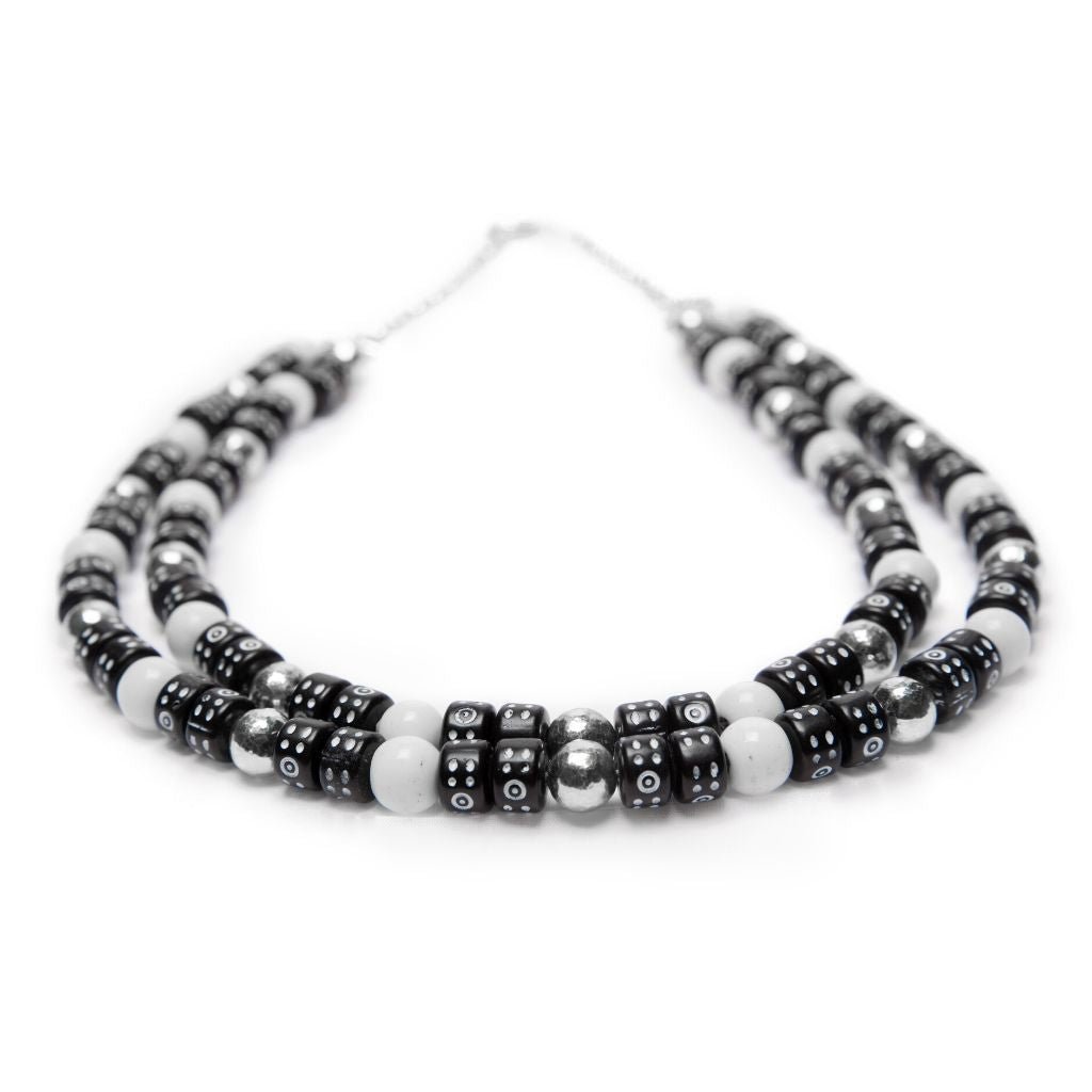 Dalasini Accra Sterling Silver and Peking Glass Bead Necklace Top