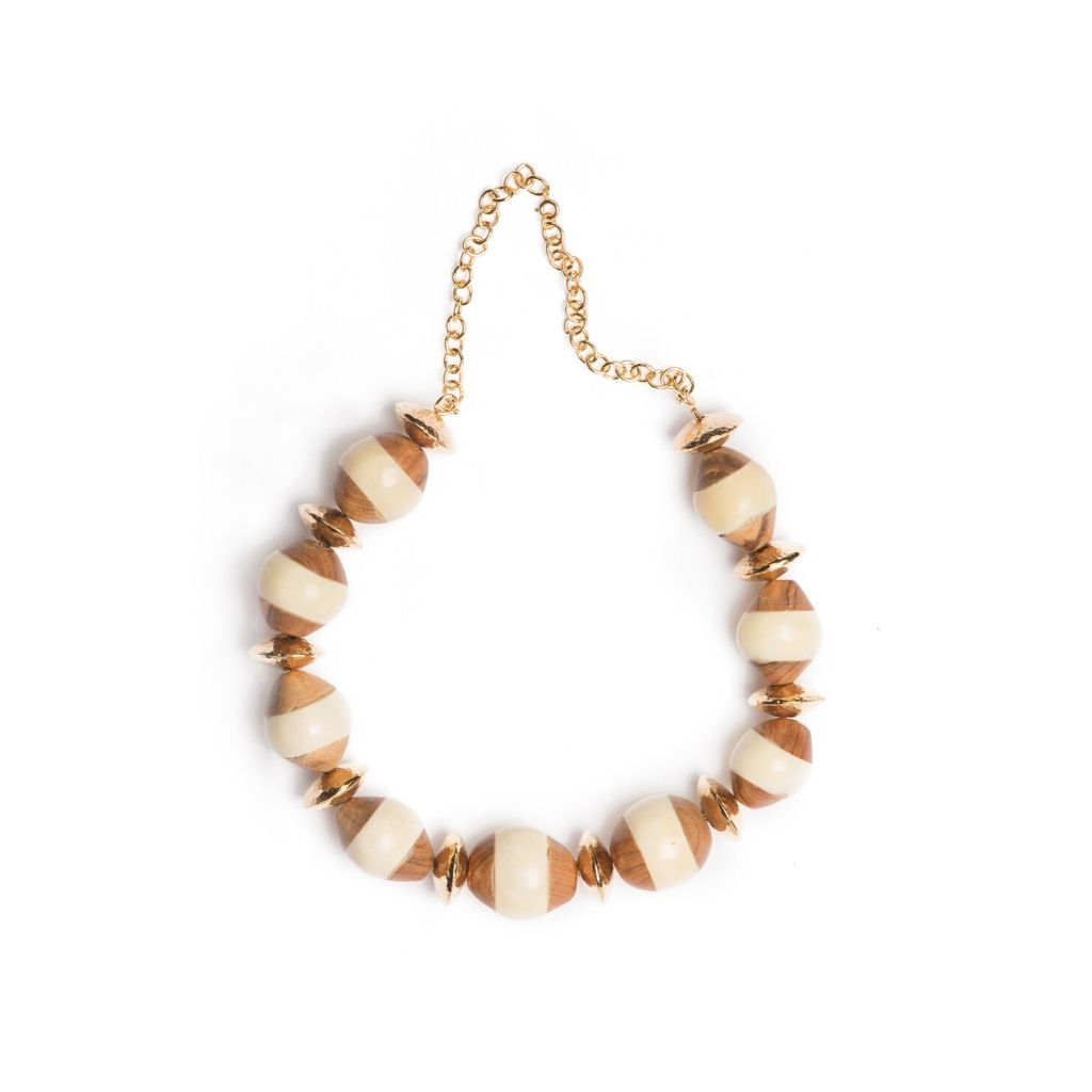 Dalasini Assal Bone and Wood Bead Necklace Top