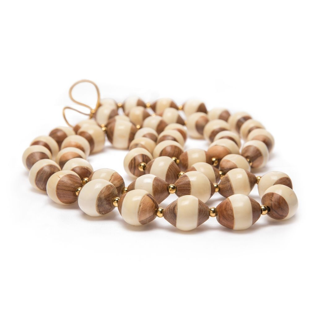 Dalasini Issa Bone and Wood Bead Necklace Close Up