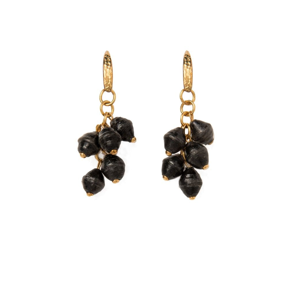 Dalasini Mara Hammered Gold and Paper Bead Earrings Black