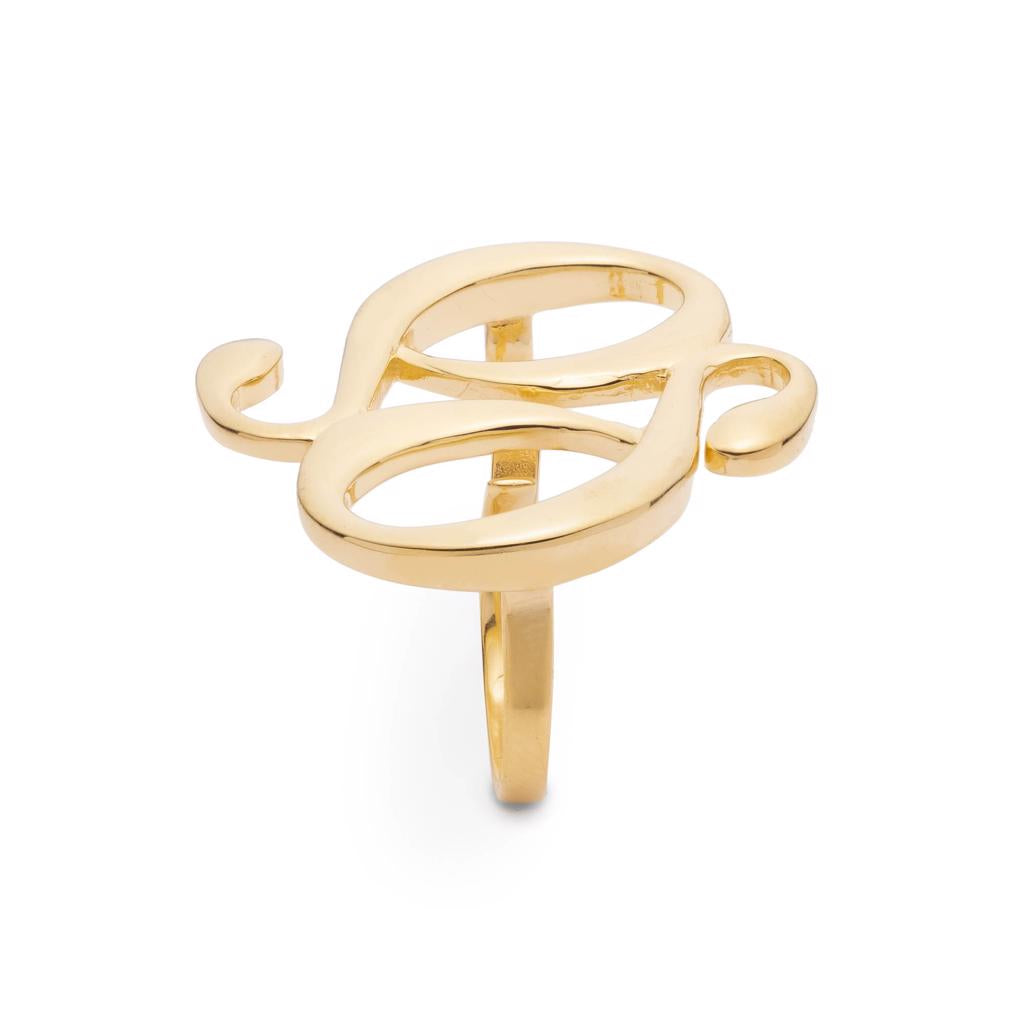 Dalasini Monogram Gold Double Ring Top