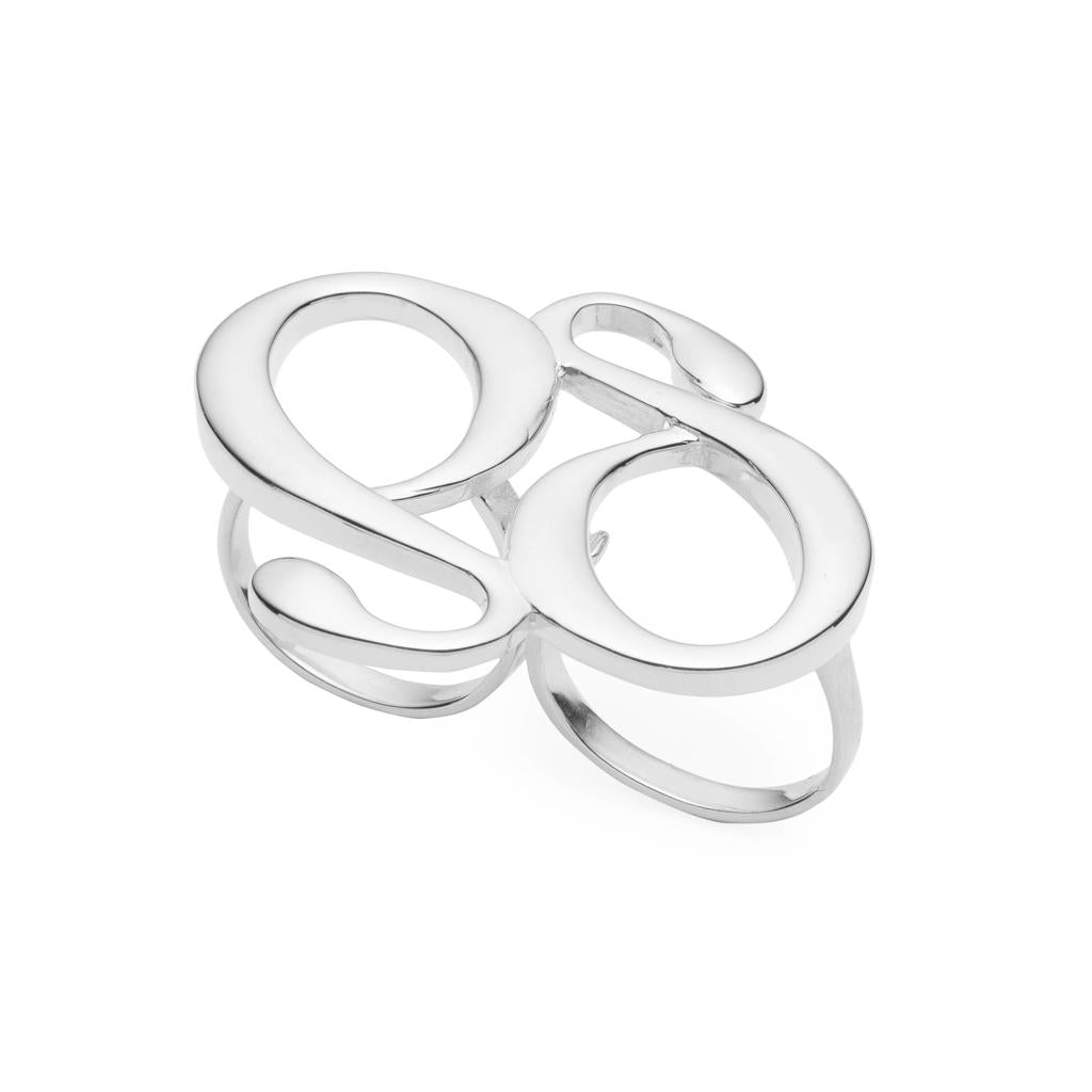 Dalasini Monogram Sterling Silver Double Ring Top