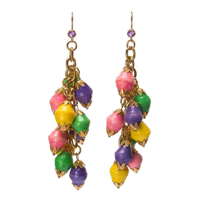 Dalasini Nairobi Multi Color Amethyst and Paper Bead Earrings Front