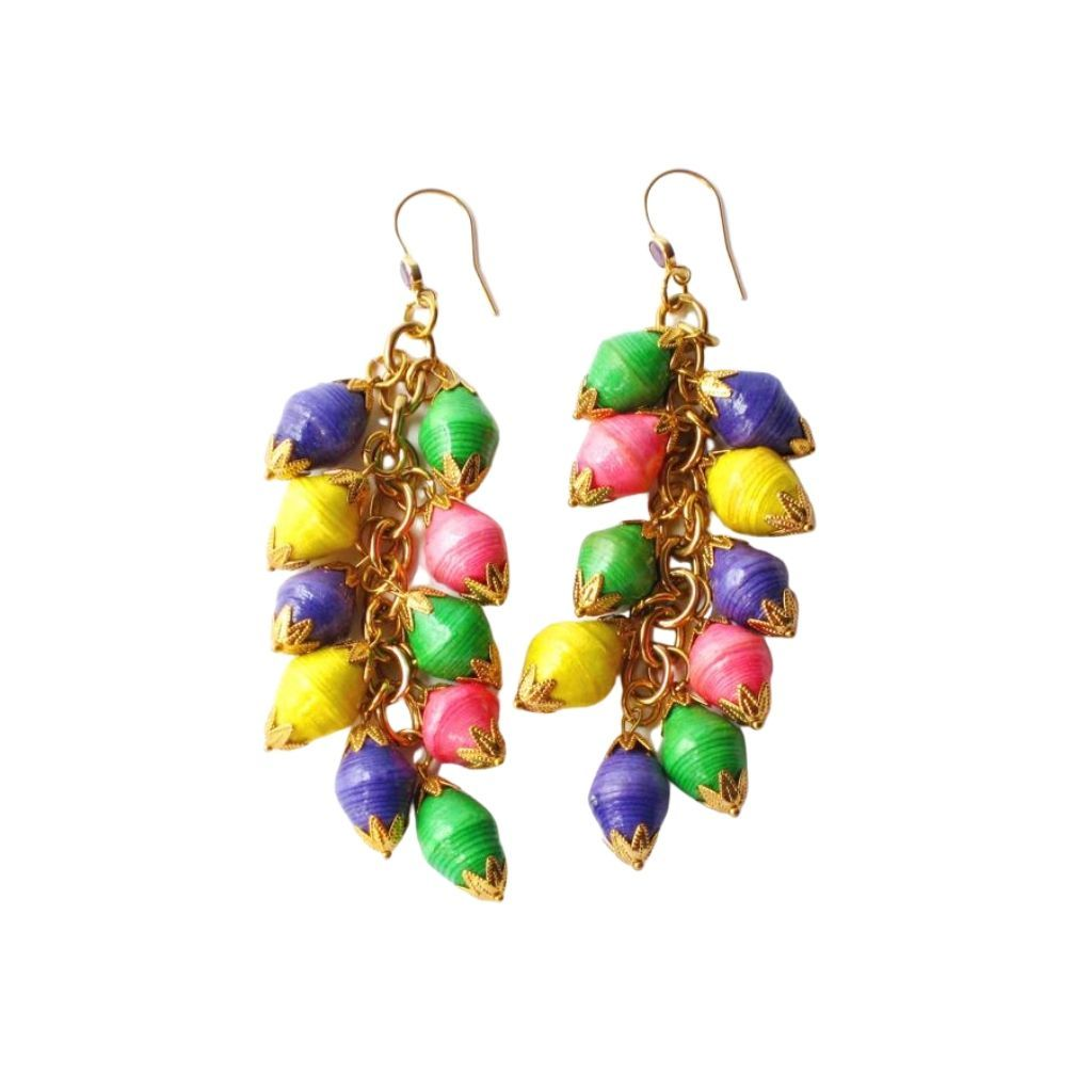 Dalasini Nairobi Multi Color Amethyst and Paper Bead Earrings Top