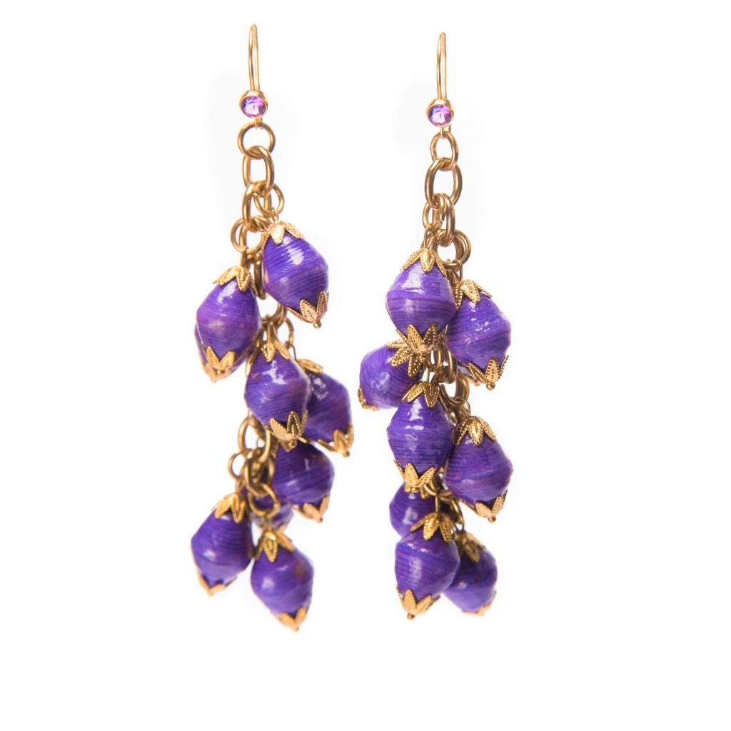 Dalasini Nairobi Purple Amethyst and Paper Bead Earrings Top