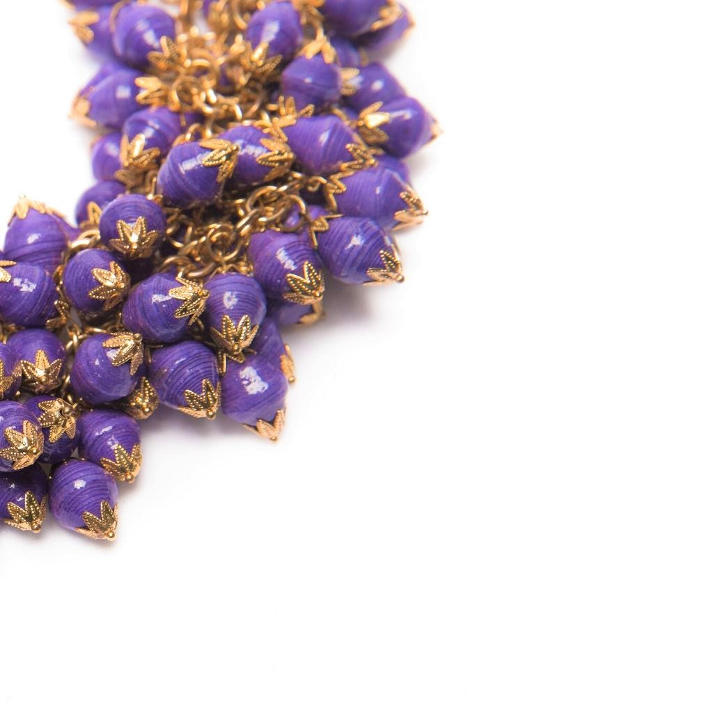 Dalasini Nairobi Purple Paper Bead Necklace Close Up