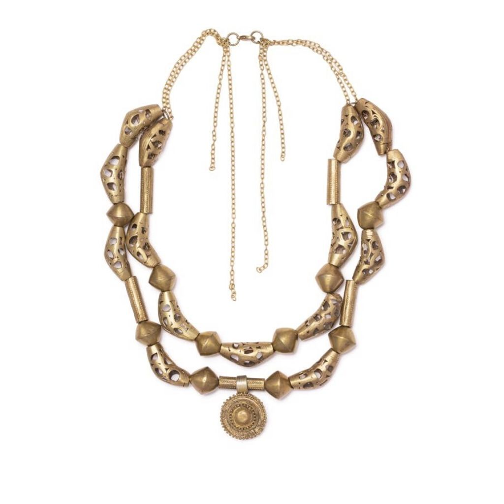 Dalasini Oyo Vingate Brass Necklace Top