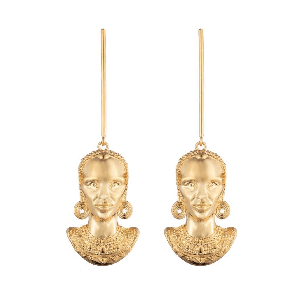 Dalasini Turkana Gold Maasai Earrings Front