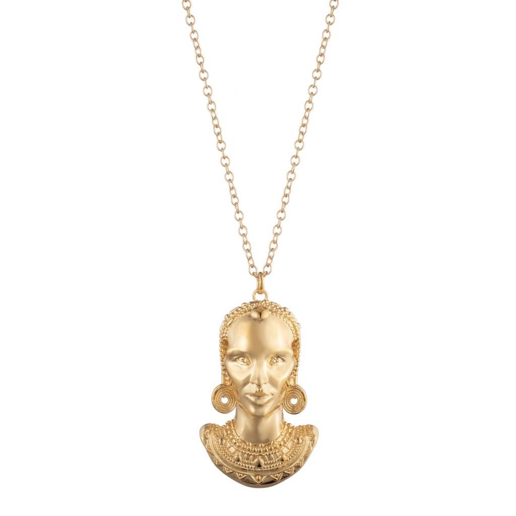 Dalasini Turkana Gold Maasai Pendant Necklace