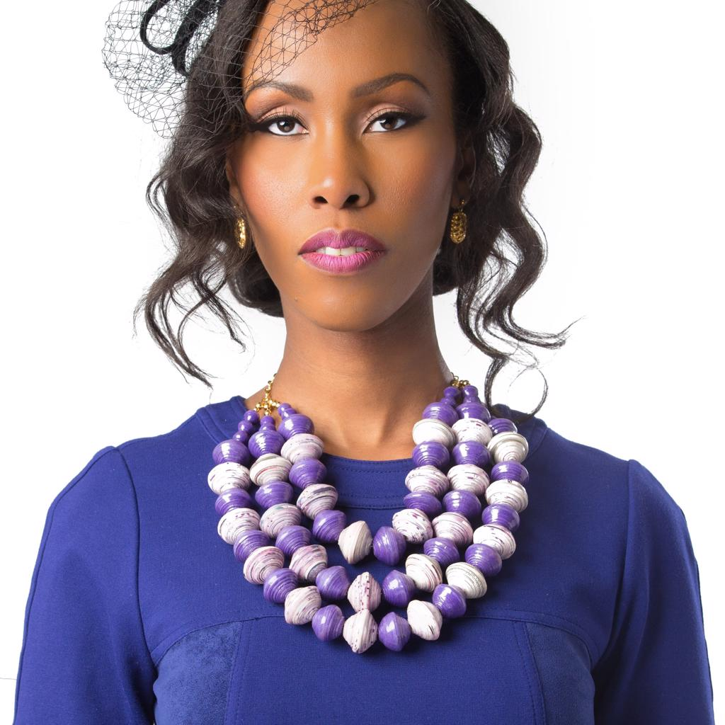 Dalasini Kampala Paper Bead Necklace Top