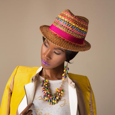 Model Wearing Dalasini Nairobi Multi Color Amethyst and Paper Bead Earrings and Necklace