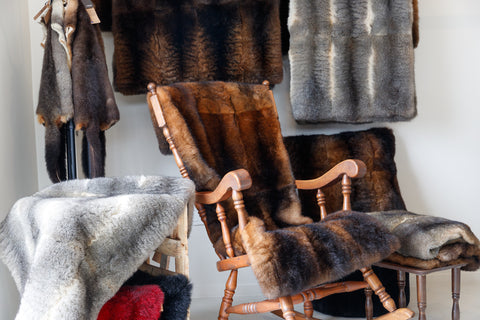 Natural and dyed possum fur throws, pillows and pelts
