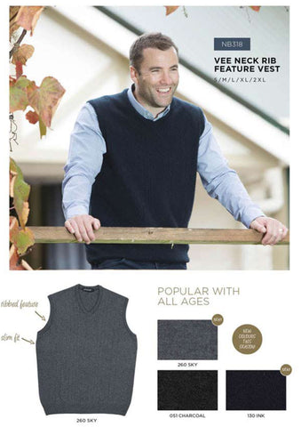 Vee Neck Rib Feature Vest
