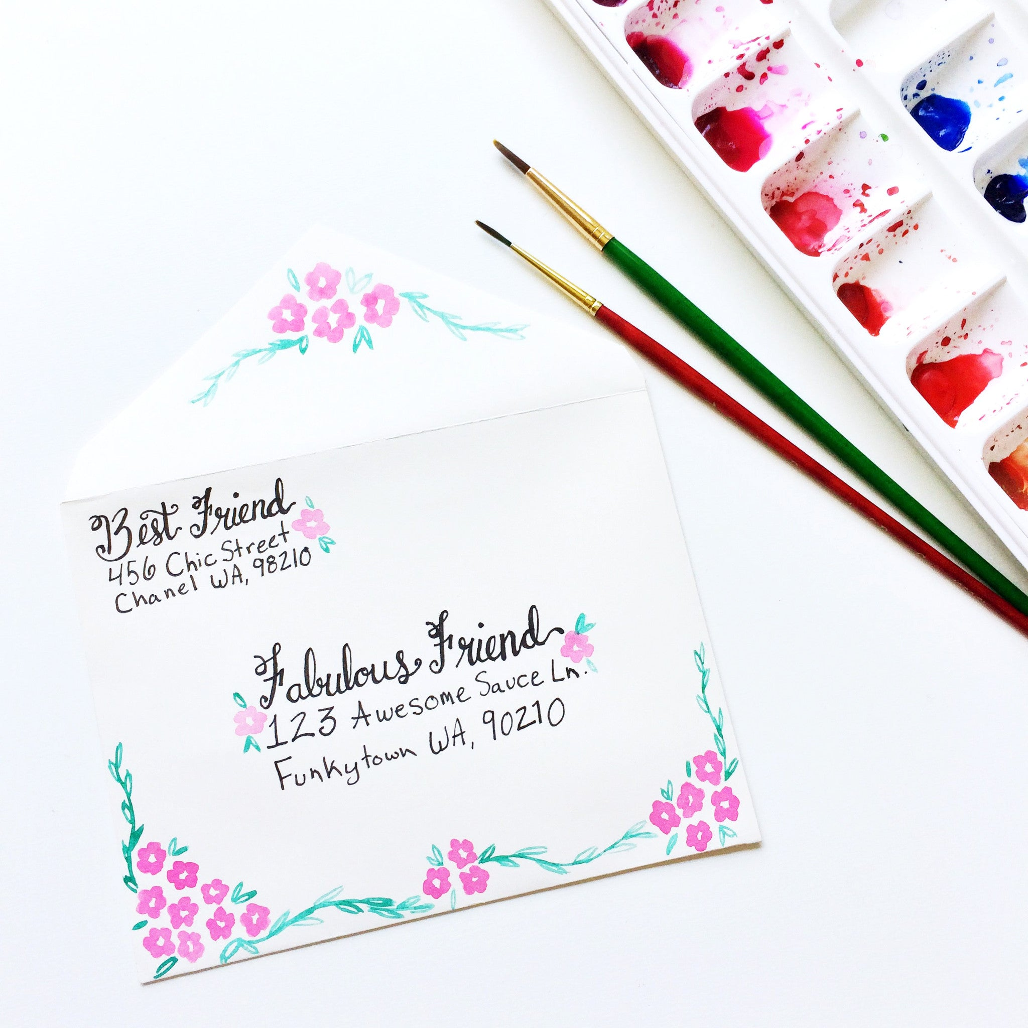 DIY Watercolor Floral Painted Envelope