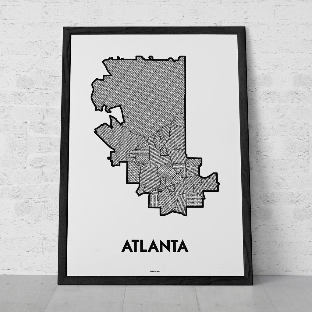 Neighborhoods Of Atlanta Patchwork Map Blue Is The Land