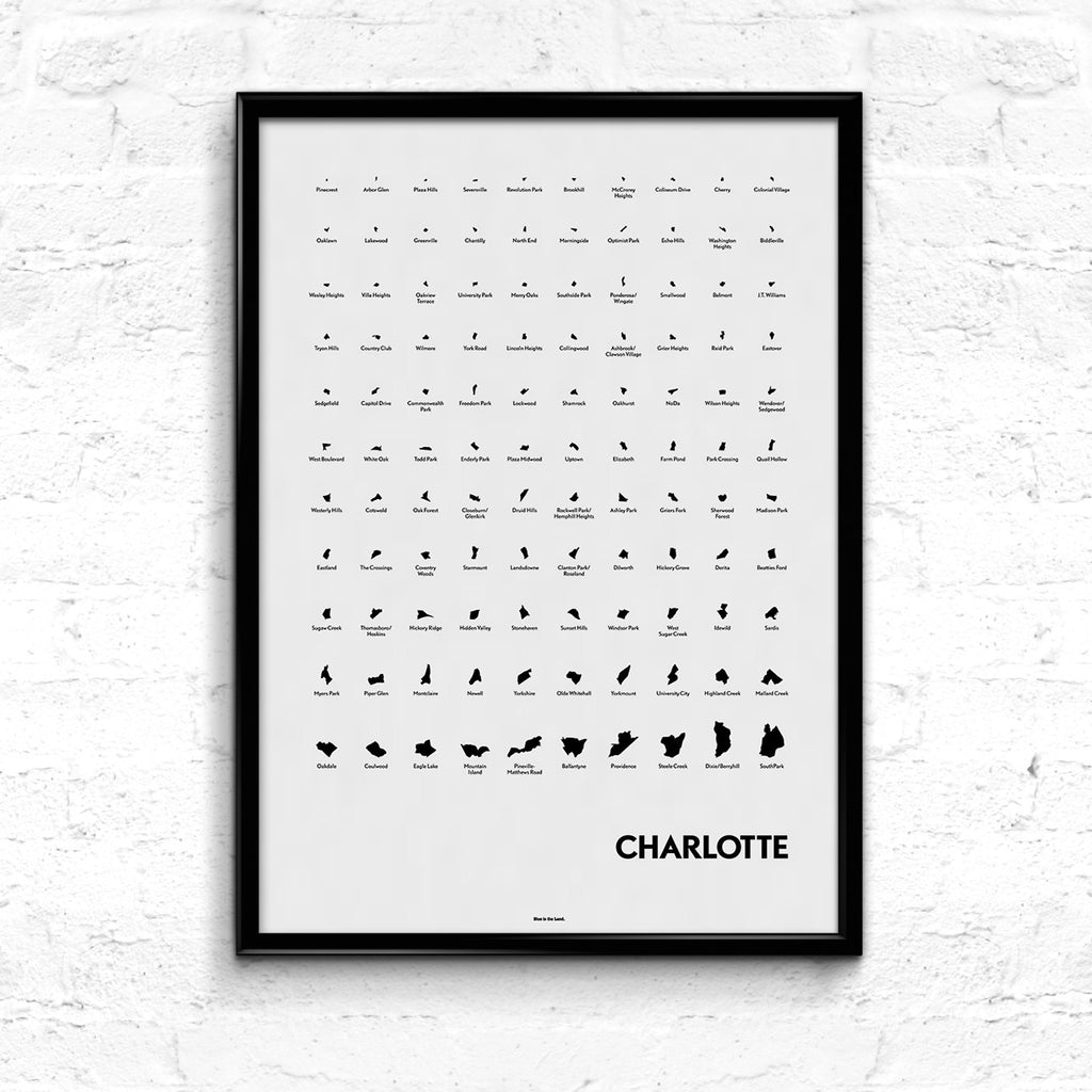 'Neighborhoods of Charlotte' Eye Chart Print