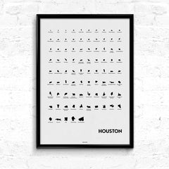 'Neighborhoods of Houston' Eye Chart Print