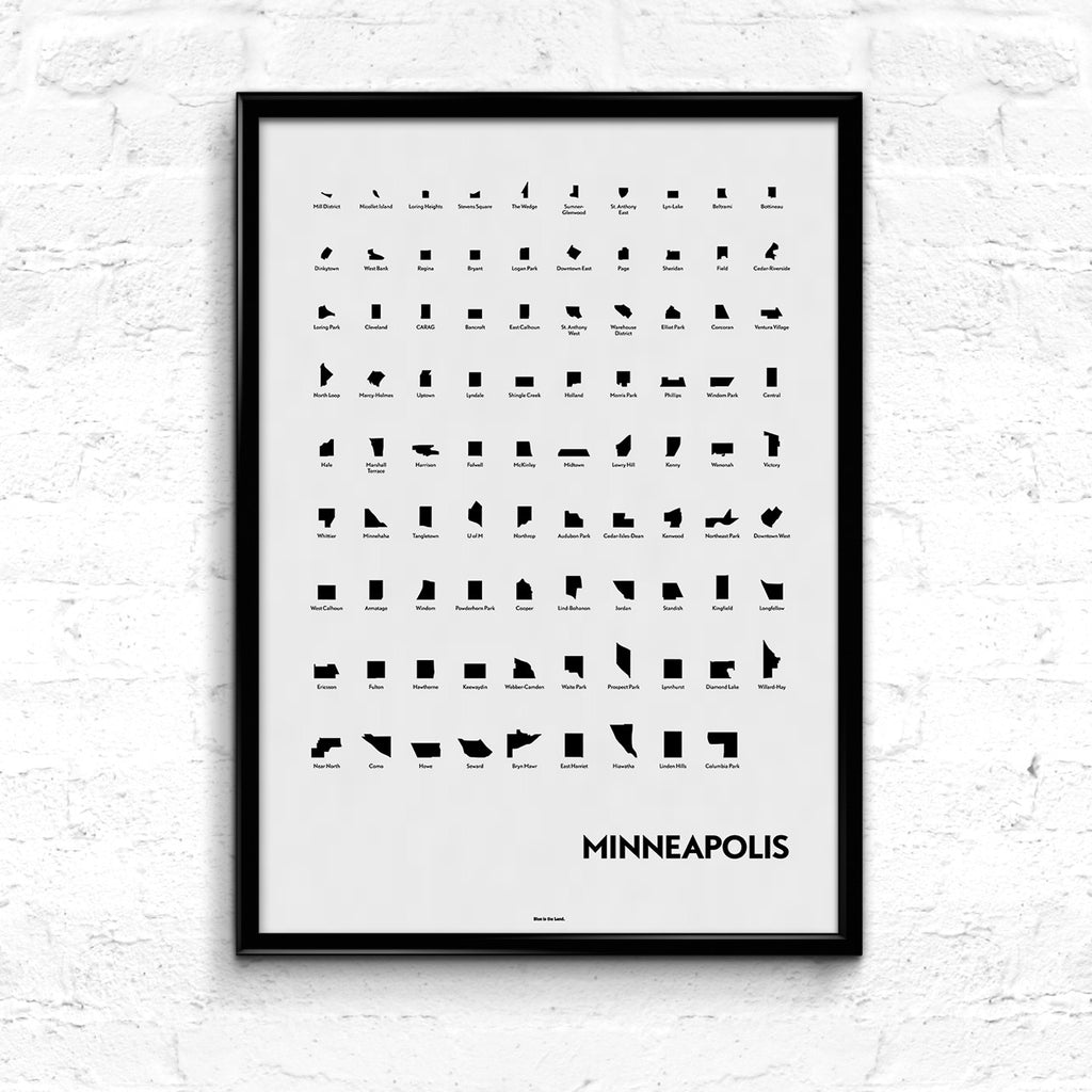 'Neighborhoods of Minneapolis' Eye Chart Print