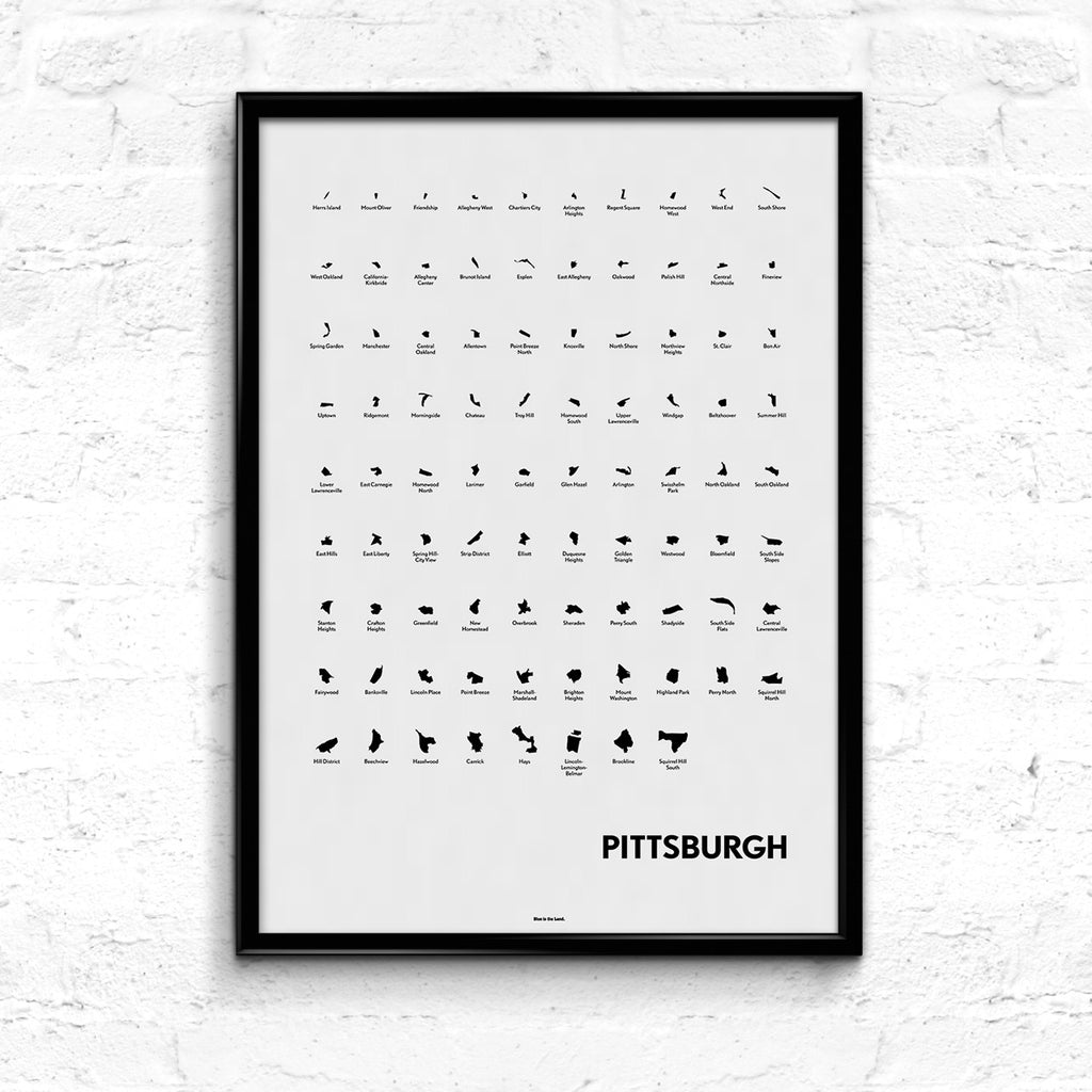 'Neighborhoods of Pittsburgh' Eye Chart Print