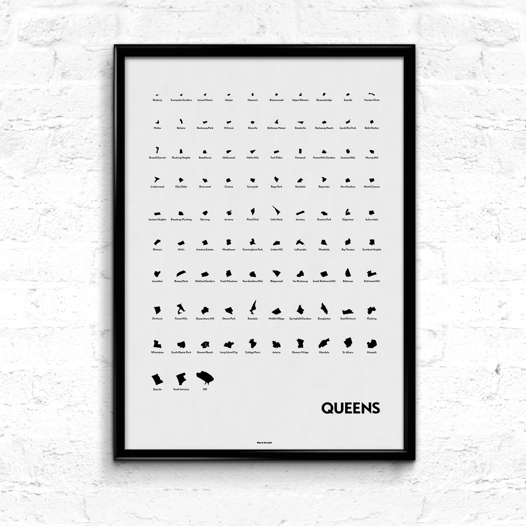 'Neighborhoods of Queens' Eye Chart Print