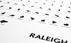 'Neighborhoods of Raleigh' Eye Chart Print