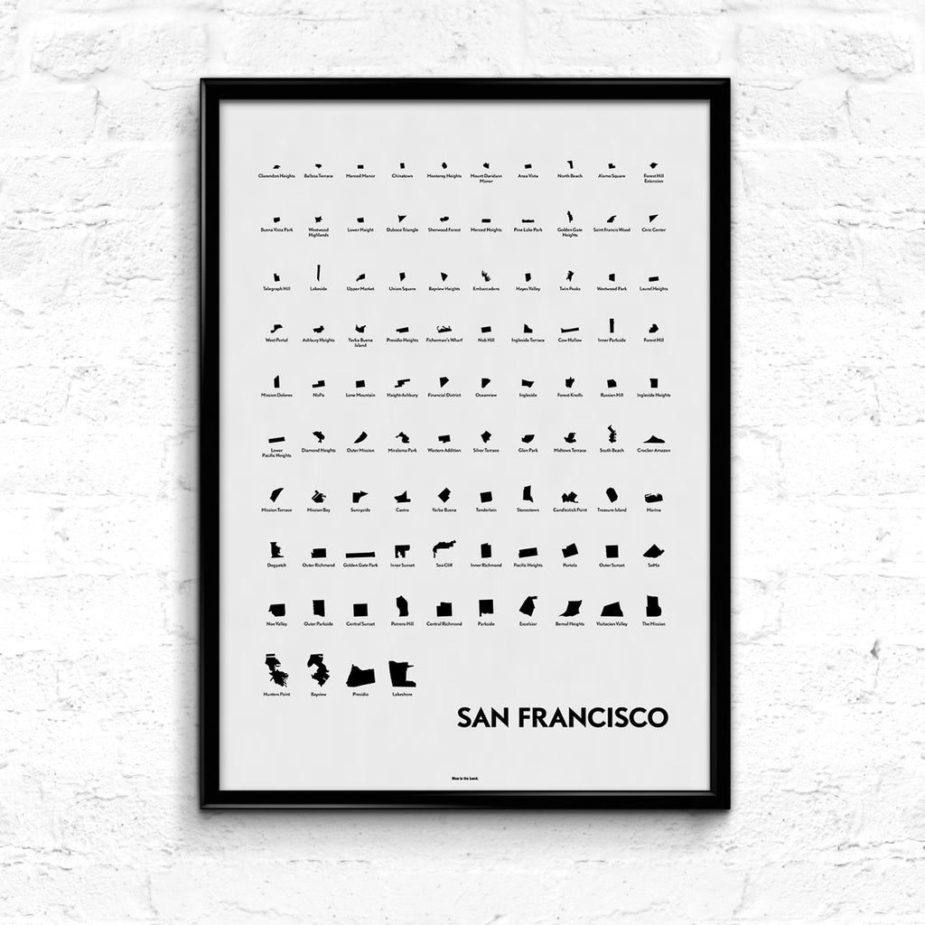 'Neighborhoods of San Francisco' Eye Chart Print