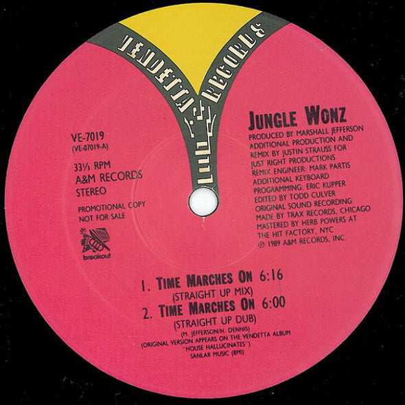 "Jungle Wonz : Time Marches On (The Justin Strauss Remixes) (12"", Promo)"