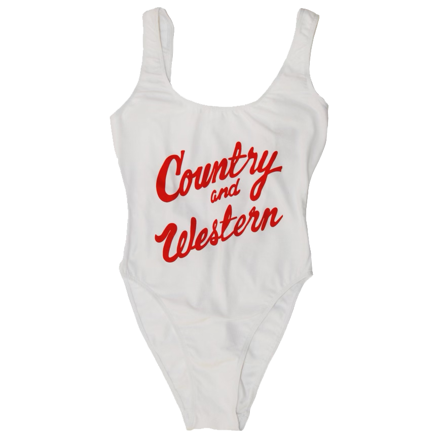 Country & Western White Red Bodysuit