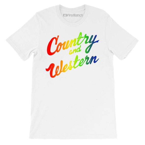 Country & Western Rainbow White Unisex Tee