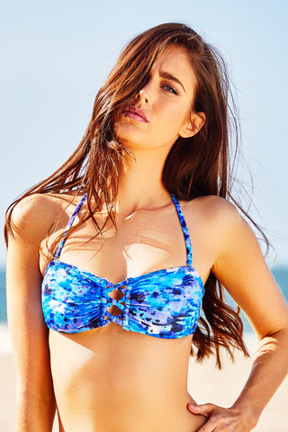 Knotted Bandeau Top - Blue Abyss