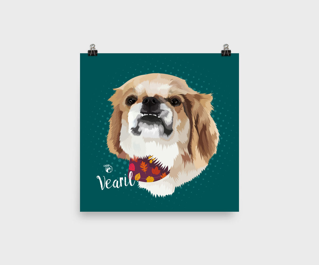 Square Wall Art Pet Portrait, Unframed Poster Print, Available in Various Poster Sizes