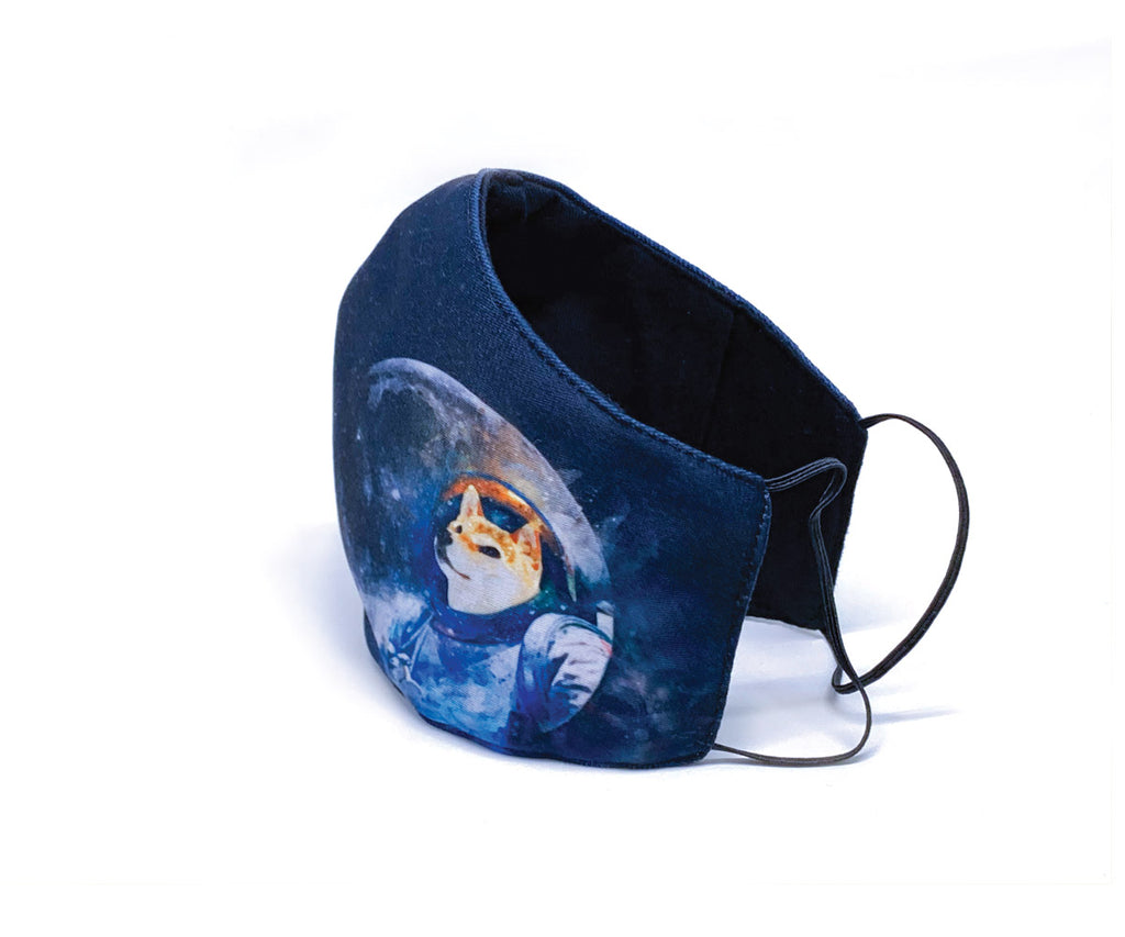 3D Resuable Mask with Filter Pocket, Shiba-stronaut, Red Shiba Inu, Adult Size (Unisex)