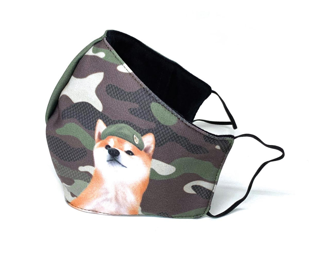 Camo Military Captain Shiba 3D Adult Mask with Filter Pocket, Adult Size, Khaki-Green