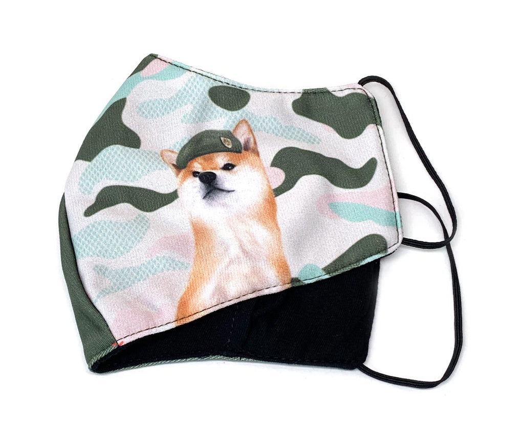 Camo Military Captain Shiba 3D Adult Mask with Filter Pocket, Adult Size, Blush Pink