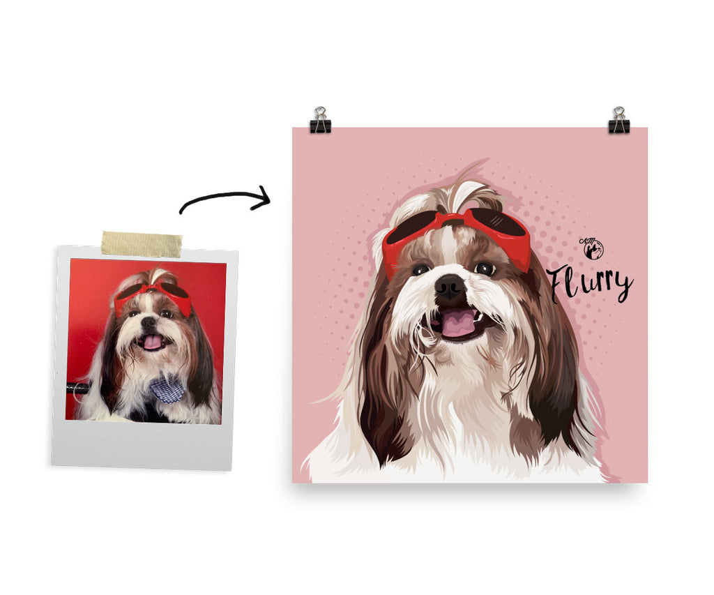 Digital File only, Pop Art Pet Portrait, Available in Various Sizes (Square Format)