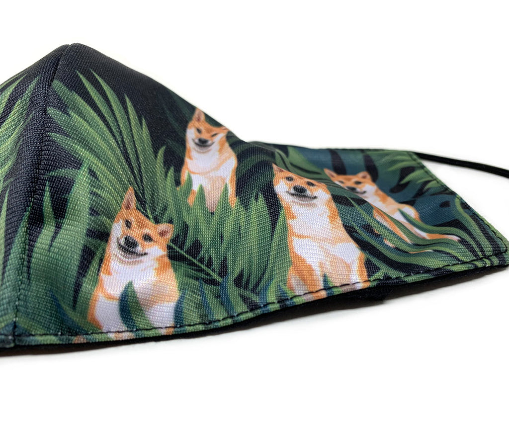 3D Resuable Mask with Filter Pocket, Tropical Midnight Red Shiba Inu, Adult